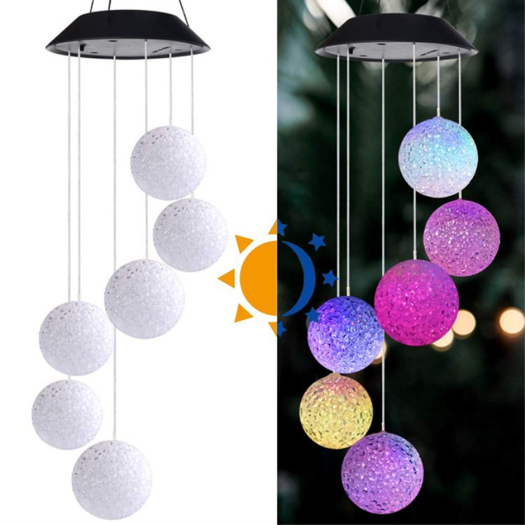 Solar Wind Bell Lamp Ball Hummingbird LED Color-changing Light String Outdoor Courtyard Decoration Hanging Wind Chimes Lights