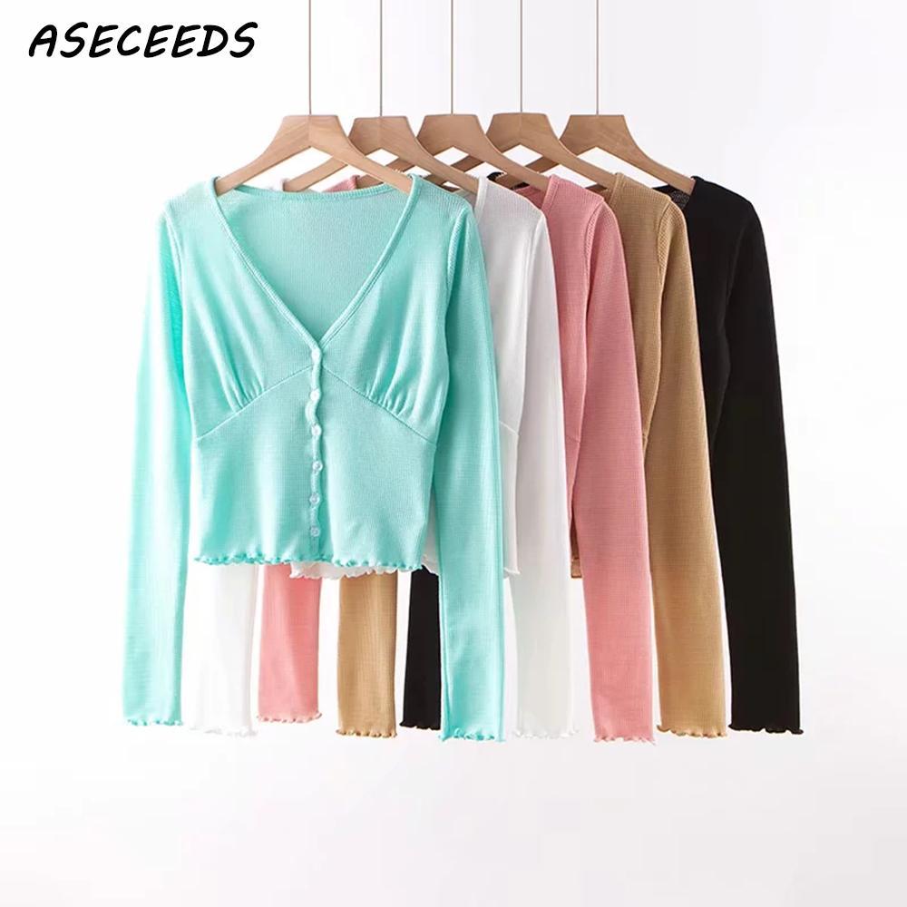 Vintage Korean button black sweater women cardigan fall 2019 chic long sleeve kawaii pink sexy v neck knitted sweater streetwear