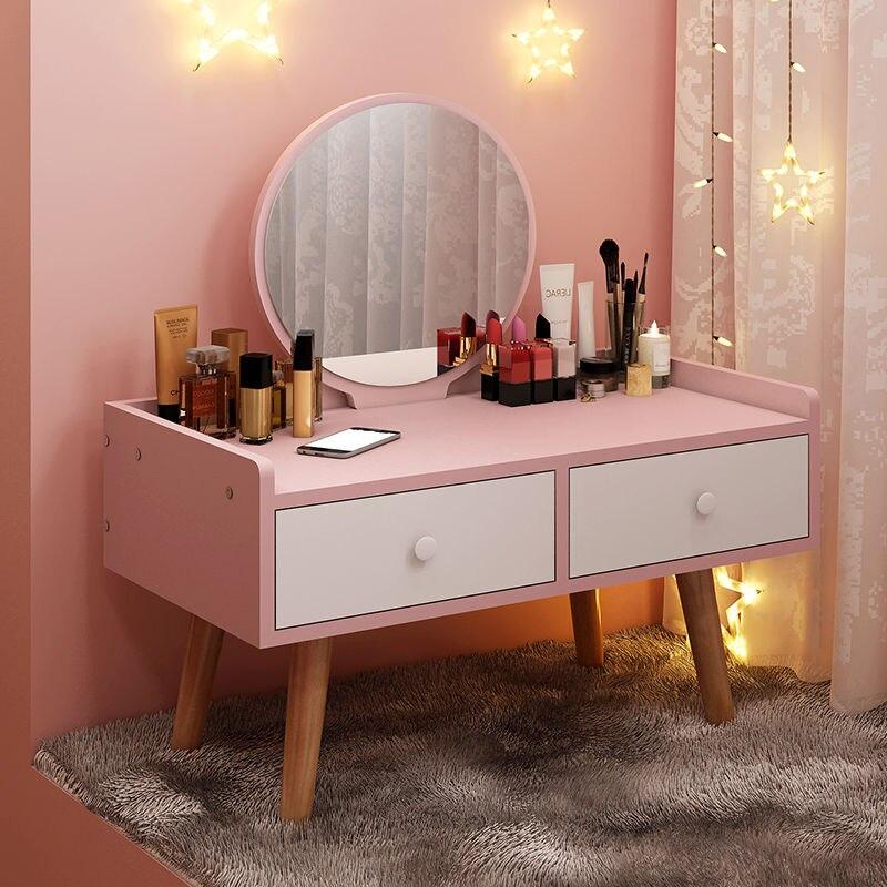 Туалетный столик с зеркалом, мебель для спальни, скандинавский стол для макияжа, Модный маленький эркерный простой туалетный столик для мал...