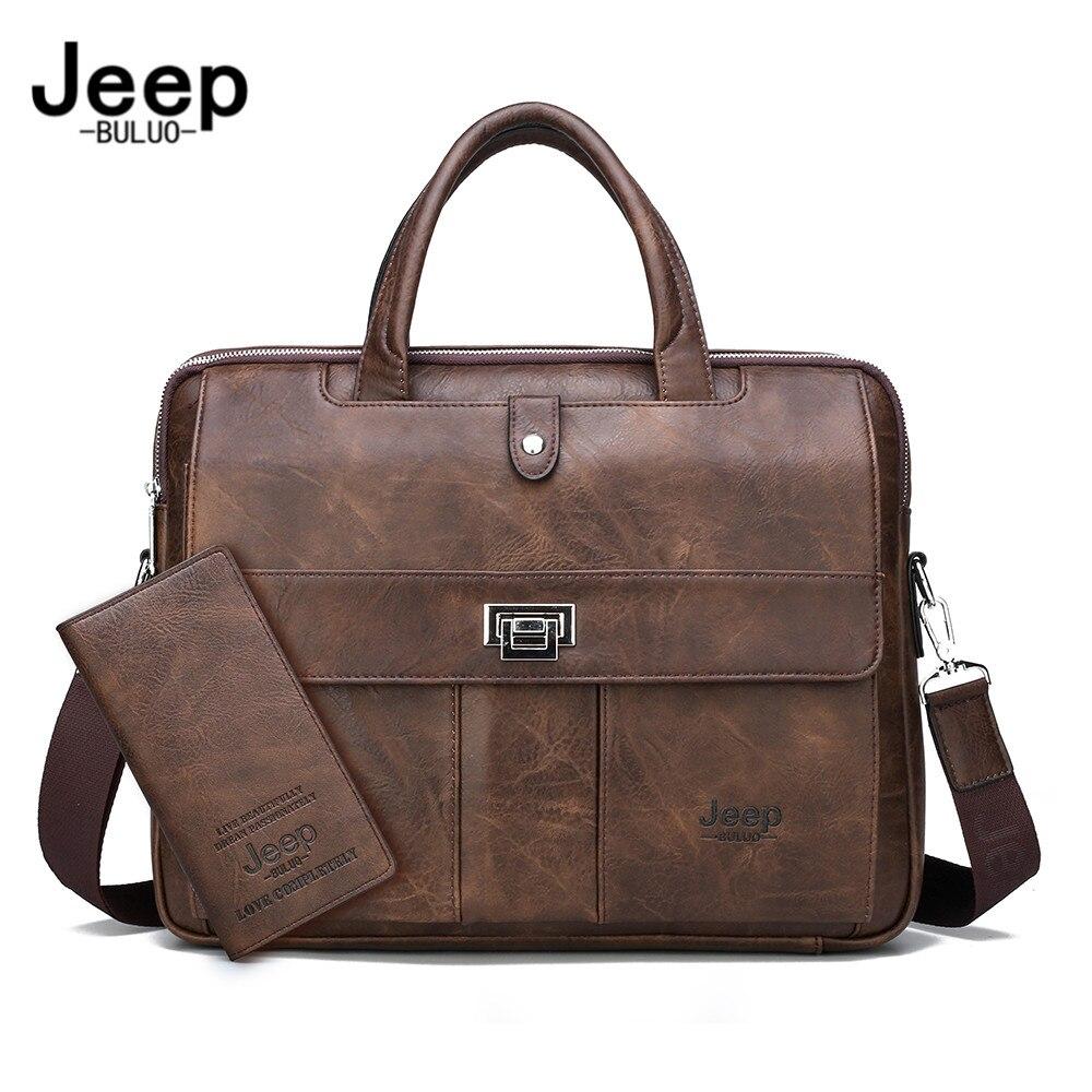 Портфель JEEP BULUO мужской для ноутбука, сумка-тоут большого размера для файлов А4, саквояж для бизнеса/путешествий/офиса