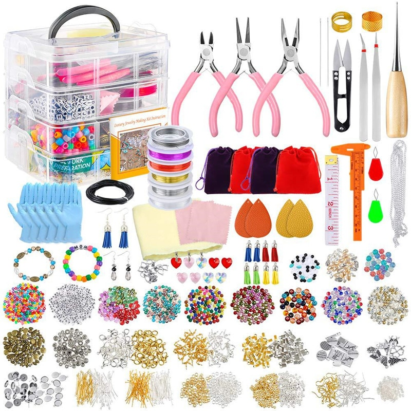 YEYULIN Jewelry Making Kit for Complete Bracelet Making Supplies Tool with Sturdy Case for Bracelet Earrings Making Great Gift