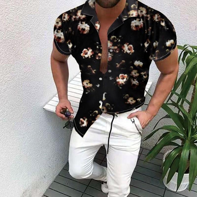 2021 New Men Shirt Fashion Hawaiian Shirt Ethnic Style  Summer Casual Print Short Sleeve Turn-down Collar Open Shirt Men's M-3XL zogaa new summer breathable short sleeve polka dot print fashion casual slim short sleeve shirt 3xl