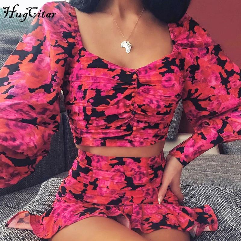 Hugcitar 2020 uzun puf kollu çiçek baskı seksi sevimli kırpma üst ruffles etek 2 adet set bahar kadın streetwear kıyafetler parti