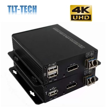 4K Displayport to fiber optical extender converter with USB support keyboard and mouse up to 10KM single mode