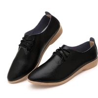 2021 spring woman lace up casual ladies driving shoes female leather genuine leather moccasins flats shoes plus size 35 44