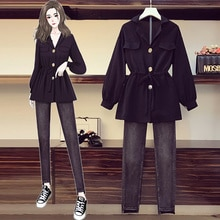 2021 Autumn New Large Size Fashion Waist-Controlled Chiffon Top Thin Coat Jeans Two-Piece Set