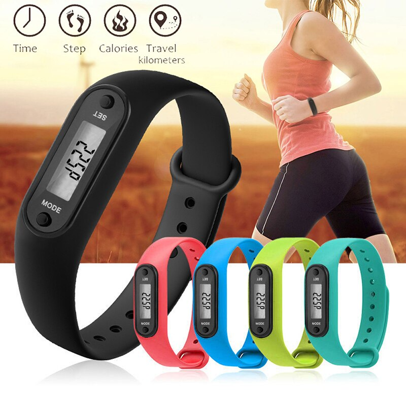Silica Gel Bracelets Sport Wristwatch Fitness Bracelet Calorie Step Walking Distance Counter LCD Pedometer Women Smart Watch