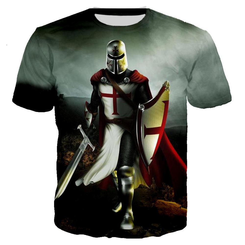 3D Printed Knights Templar T Shirt Military Tshirt Men Women Casual Streetwear Hip Hop Clothes Harajuku Tops Camiseta Hombre 6XL