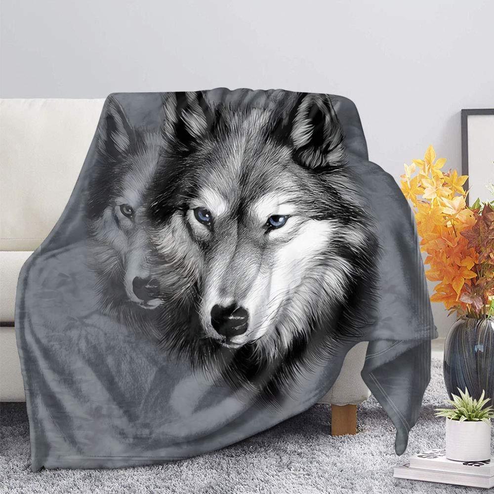 رمادي الذئب طباعة الفانيلا بطانية ثرو من الصوف القمر ليلة الذئاب شيربا بطانية على سرير الكبار الاطفال الفراء رمي Blanket0