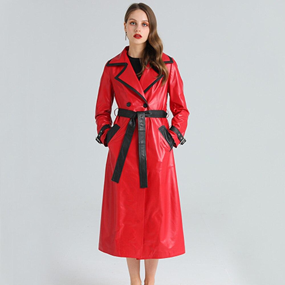 LUHAYESA الفاخرة الأحمر جلد الغنم الملابس الرسمية جلد طبيعي اضافية طويلة ملابس خارجية الخريف جلد الغنم معطف