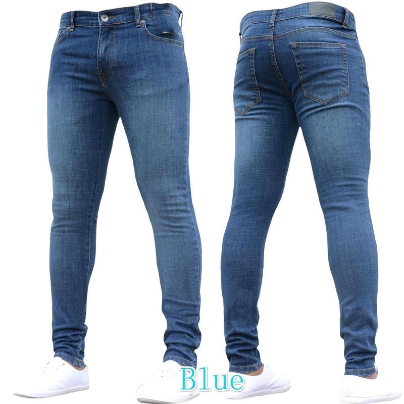 Vaqueros-بنطلون جينز أسود للرجال ، نحيف ، قابل للتمدد ، خصر متوسط ، قلم رصاص ، غير رسمي ، لون نقي