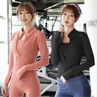 autumn sport jacket women long sleeve with thumb hole yoga shirt zipper design fitness sports top coat workout running gym wear