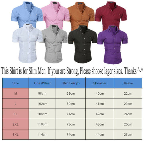 Fashion Mens Short Sleeve Shirts Casual Formal Business Slim Fit Shirt Top S M L XL 2XL 3XL  - buy with discount
