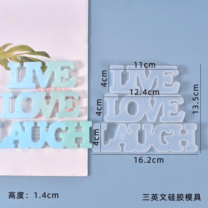 DIY Crystal Drop Romantic Fashion Mold 3 English Live, Love, Laugh Room Hanging Resin Art Mold Silicone