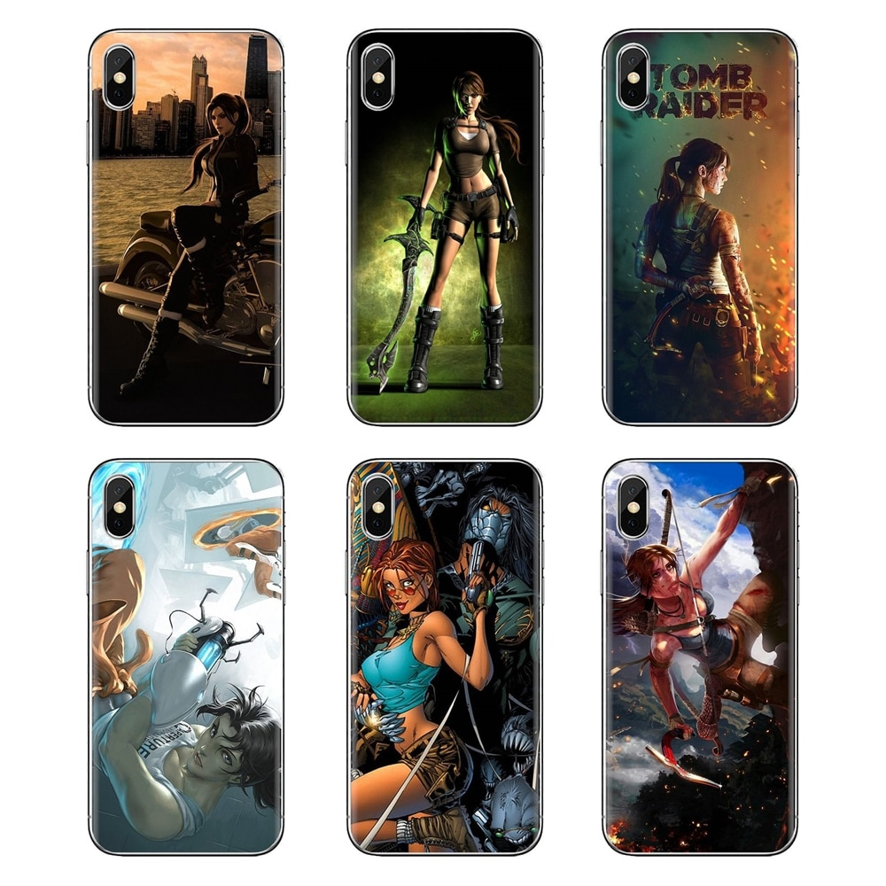 Transparent TPU Bag Case Lara Croft Tomb Raider game Print For iPod Touch Apple iPhone 4 4S 5 5S SE 5C 6 6S 7 8 X XR XS Plus MAX