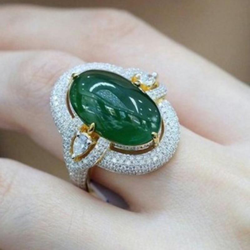 2019 nueva Sexy mujer verde grande anillo de plata lleno de Color anillo de piedra de circonia cúbica de fiesta Vintage anillos de boda para las mujeres mejores regalos