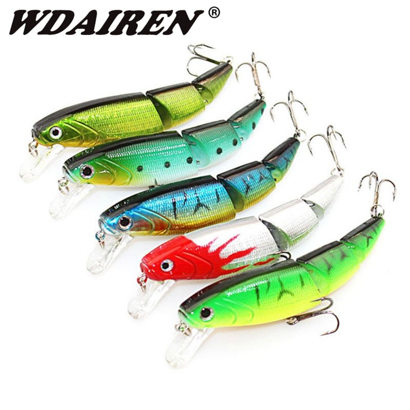 6PCS Multi Jointed Minnow Fishing Lure Set Lifelike 3-Segment Mixed Artificial Hard Bait With 6# Treble Hook Floating Wobblers