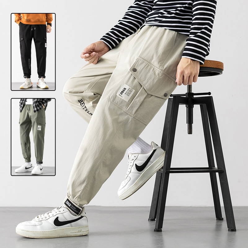 korean Style Men's Cargo Pants Hip Hop Wild Loose Male Drawstring Trousers Fashion Casual High Stree