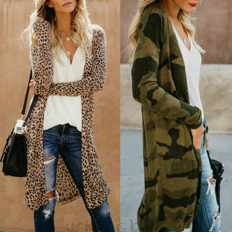 Fashion Womens Leopard Kimono Cardigan Open Front Boho Camo Long Sleeve Long Maxi Jacket Outwear Tops
