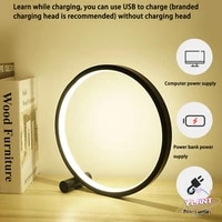 swt round night light led table lamp for bedroom circular acrylic desk lamp for living room blackwhite dimmable bedside lamp