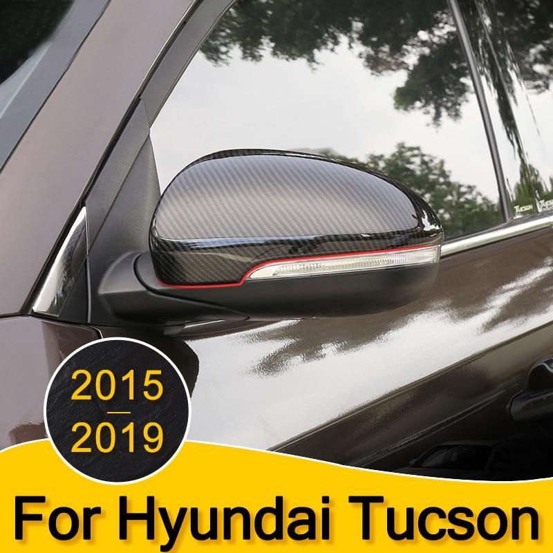 2pcs Car Door Rear View Mirror Covers Carbon fiber Rearview Mirror Caps for Hyundai Tucson 2015 2016 2017 2018 2019 Accessories