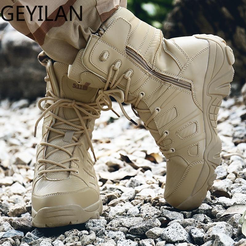 Botas militares de alta calidad, botines antideslizantes con suela de goma para hombres, zapatos de seguridad a prueba de agua, calzado transpirable de talla grande 47