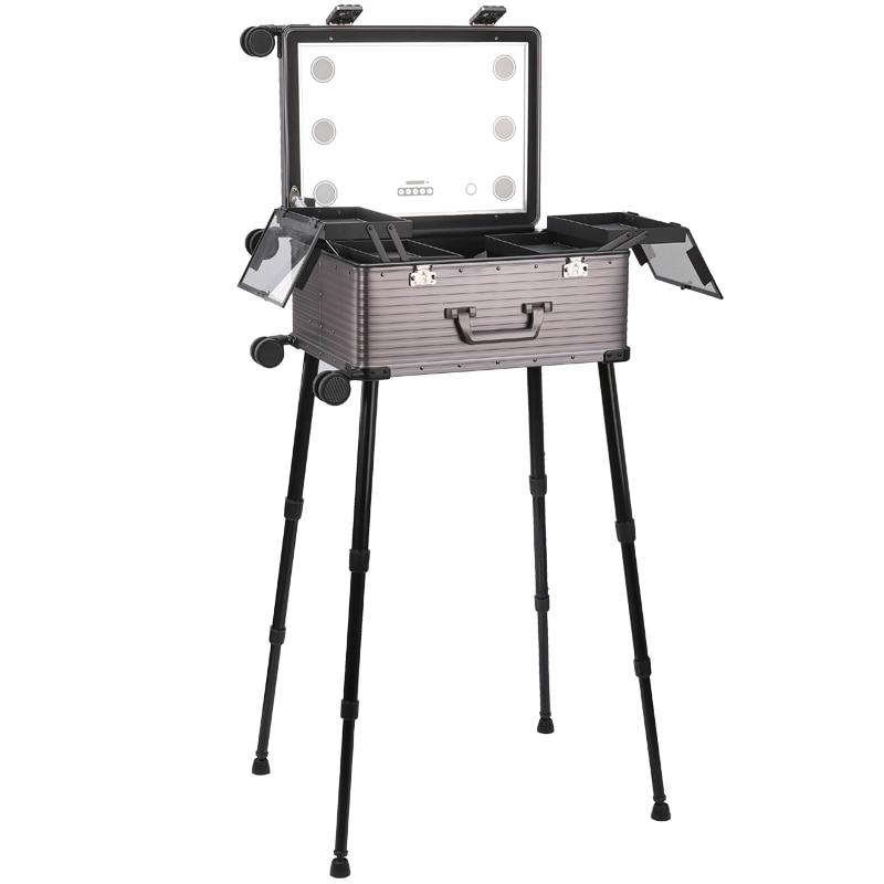 TENSUNVIS Aluminum alloy Profelssional makeup beauty Lighting Rolling travel trolley LED light make up case 4 WHEELS