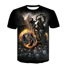 Camiseta con estampado 3D de calavera Rock para hombre, Camiseta con estampado 3D Punk de motocicleta, Tops de moda para hombre de verano