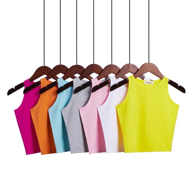 2020 Camiseta de tirantes de alta calidad para mujer camisola de algodón ajustada para mujer chaleco fino Sexy Tops cortos de verano para mujer