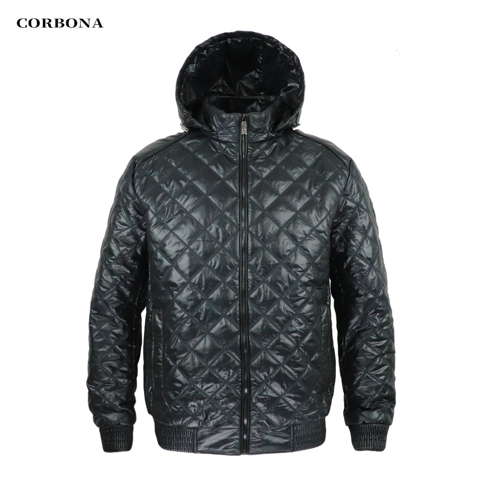 CORBONA 2021 New Light Style Oversize Black Winter Men Coat Warm Cotton Jacket Business Casual Outdoor Detachable Hat Parka