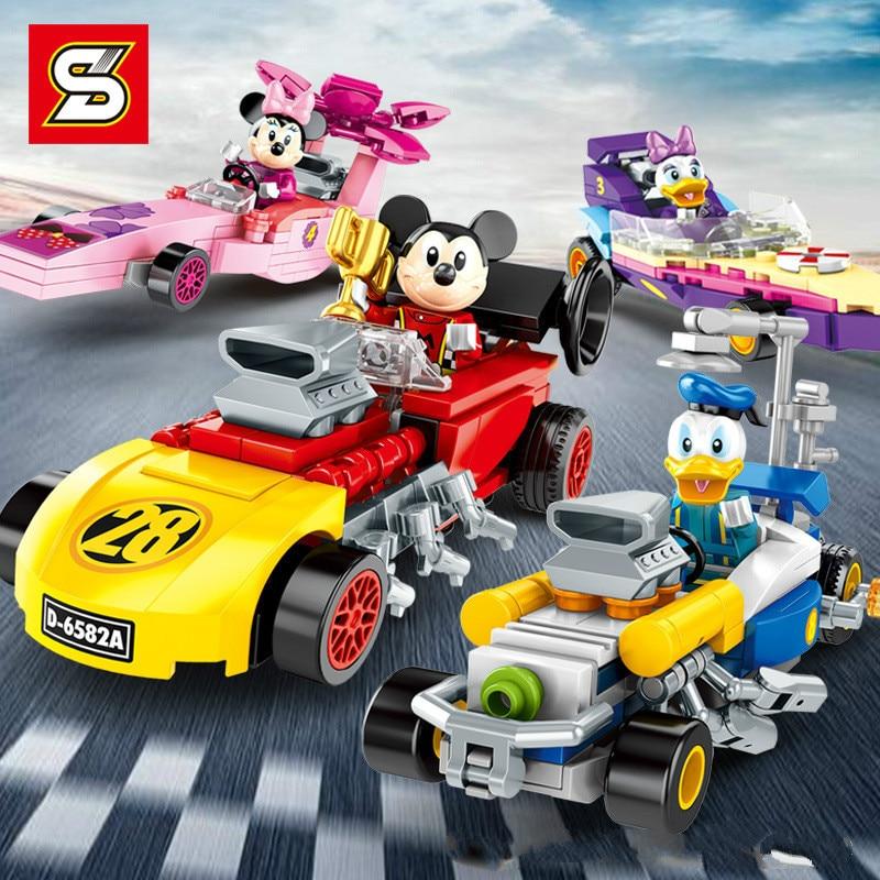 Mickey Mouse edificio Mini bloques de construcción de juguete de ladrillo de personajes de dibujos animados de la educación de los niños juguete legoeing a juguetes