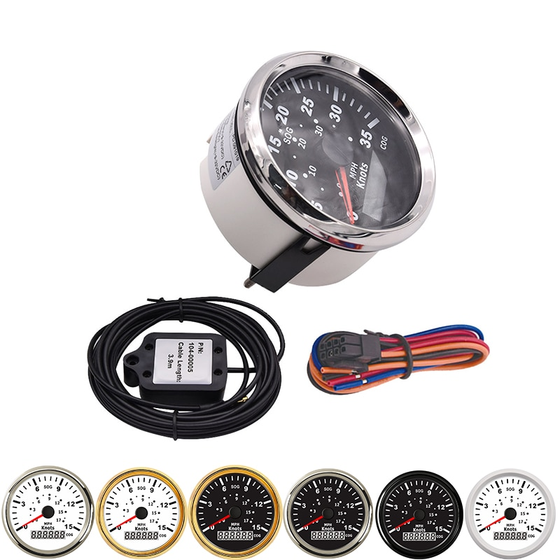 85mm Marine GPS Speedometer Tuning Auto Car Meter 9-32V With Red Backlight Marine GPS Speedometer 15knots  Speed Gauge Waterproo