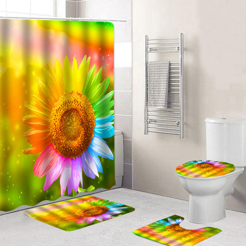 4 pçs girassol à prova dsunflower água banheiro cortina de chuveiro antiderrapante tapete conjunto pedestal tampa do tapete de banho tapete de chuveiro cortinas