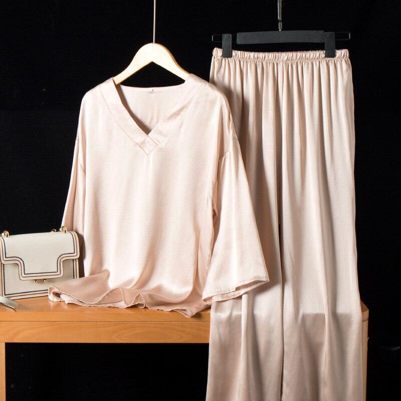 100% الحرير الحرير بيجامة دعوى المرأة الحرير المنزل ارتداء يمكن ارتداؤها ل الترفيه الصيف قطعتين 2021 جديد