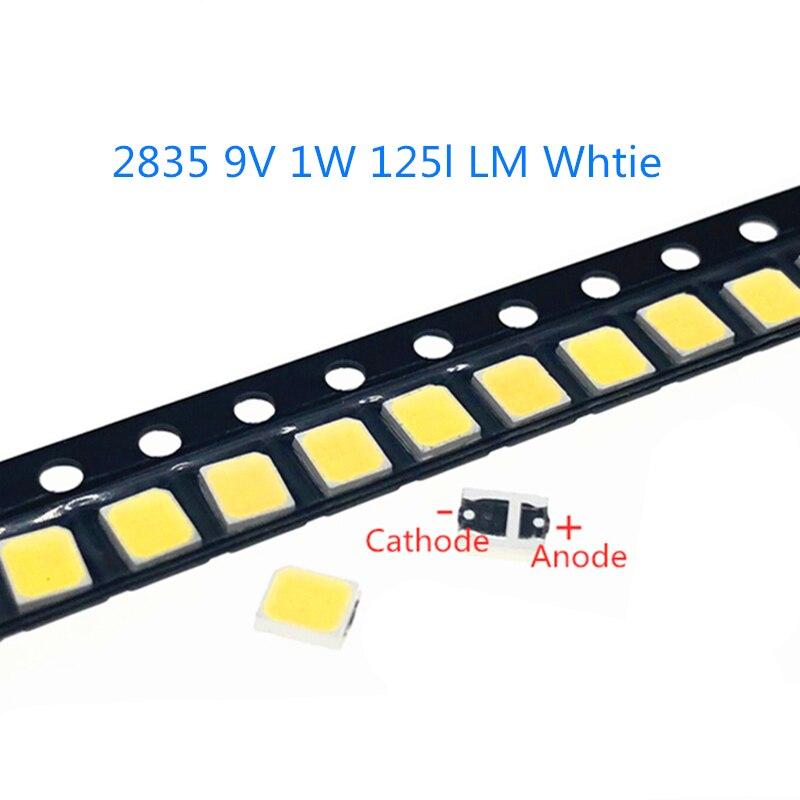 50-1000 шт./лот Высокая яркость 2835 125Lm SMD светодиодный чип 1 Вт 9В 3000 К 4000 к 6000 К 9000 к белый светодиод поверхностного монтажа