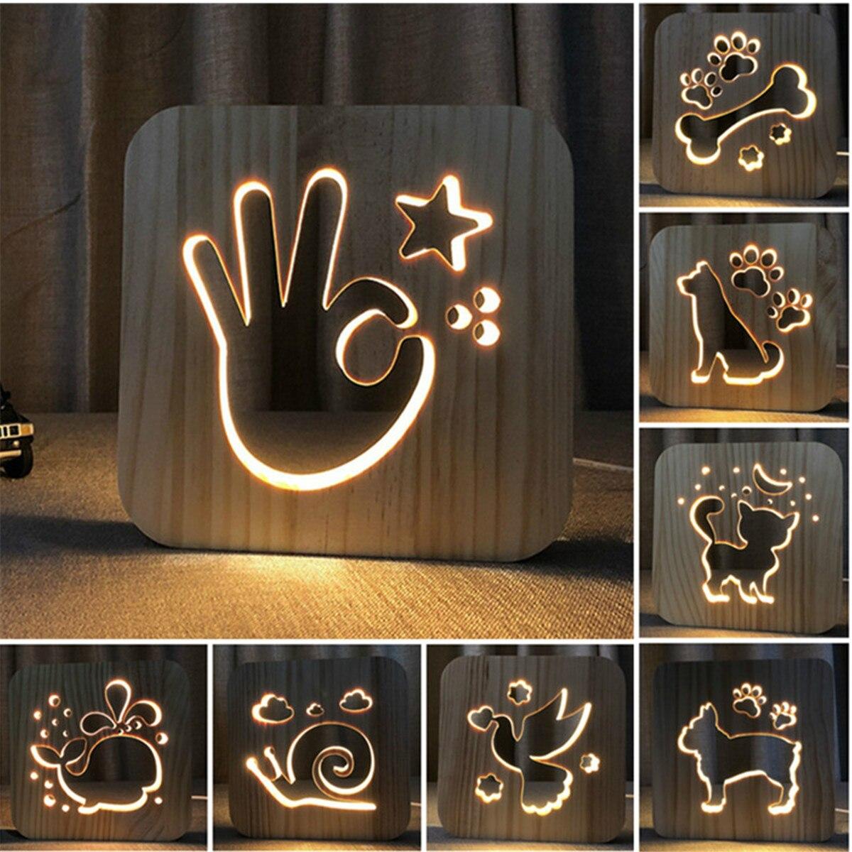 3D USB LED Table Light Wood Desk Lamps Dog Paw Cat Wolf Animal Lamp Novelty Kids Bedroom 3D Decoration Table Light Children Gift