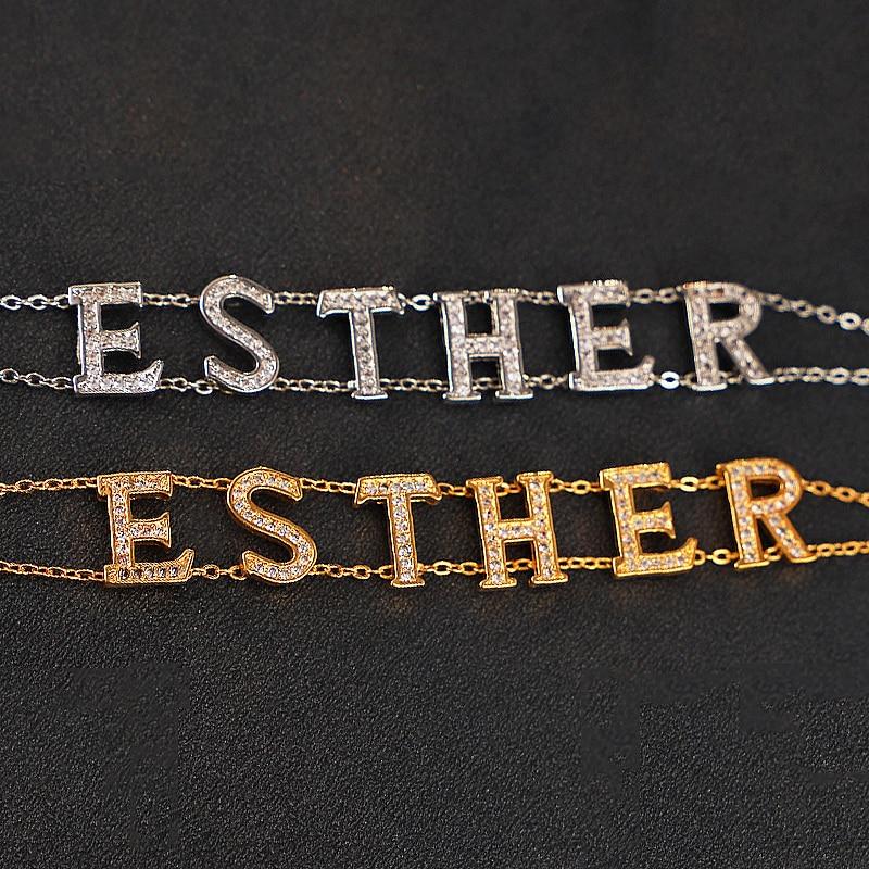 Комбинированная подвеска с надписью, браслет с двойным именем на заказ, креативная НОВАЯ ЦЕПОЧКА, золотистый женский браслет с персонализи...