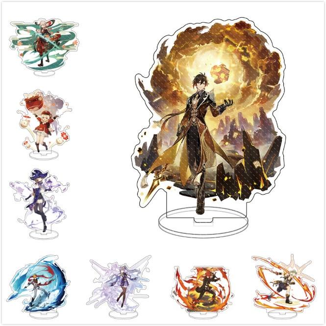 Anime Figure Genshin Impact Zhongli Diluc Venti Klee Keqing Qiqi Acrylic Stand Model Plate Desk Decor Standing Sign Fans Gifts