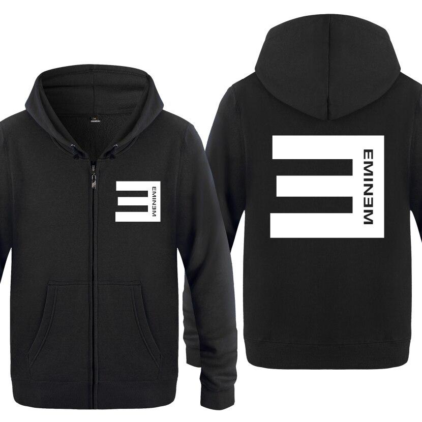 Sudaderas Eminem Cool Anti-E para hombres 2018 con cremallera y capucha de lana