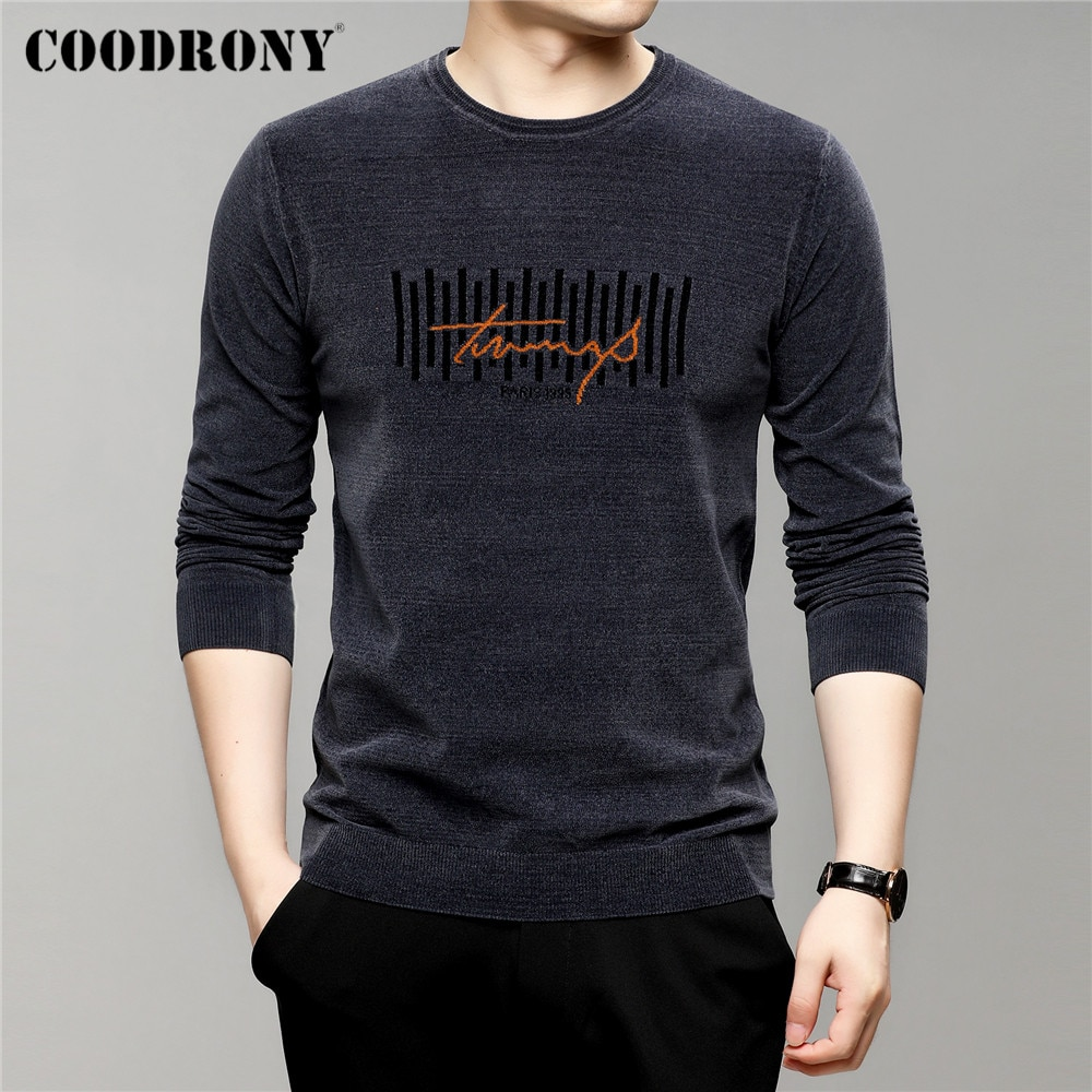 COODRONY – pull en Chenille doux et chaud pour hommes, Streetwear à la mode, col rond, marque, nouvelle collection automne hiver, Jersey C1332