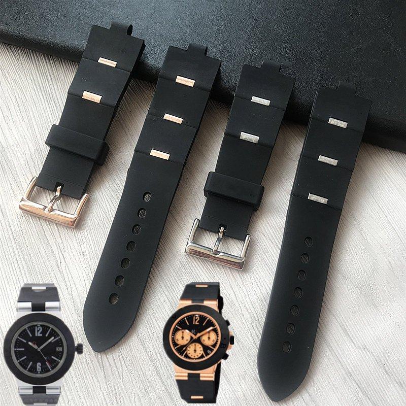 MERJUST مربط الساعة رجل المطاط الأسود استبدال حزام (استيك) ساعة حزام ل bvlgari bvlg Diagono24mm x 8 مللي متر انخفاض شيب