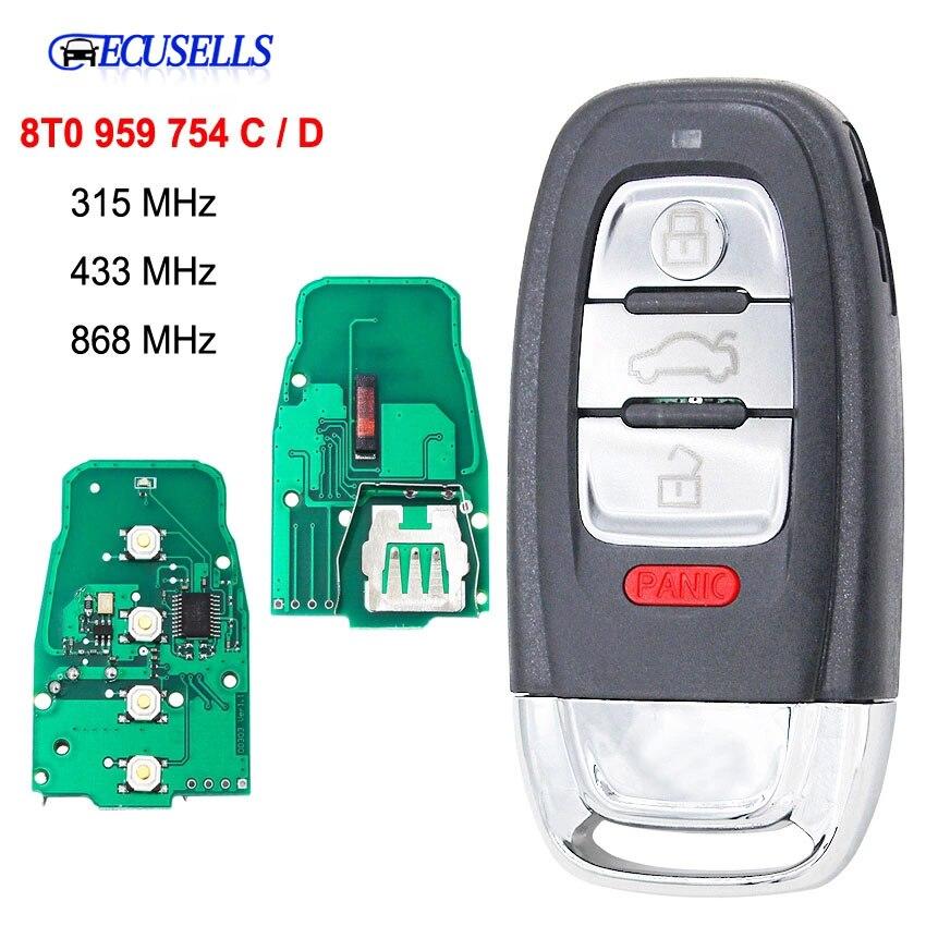 3 Botão inteligente Remoto Chave 315MHz/433MHZ/868MHZ 8T0 959 754 C / 8T0 959 754 D para Para Audi Q5 A4L A5 A6 A7 A8 RS4 RS5 S4 S5