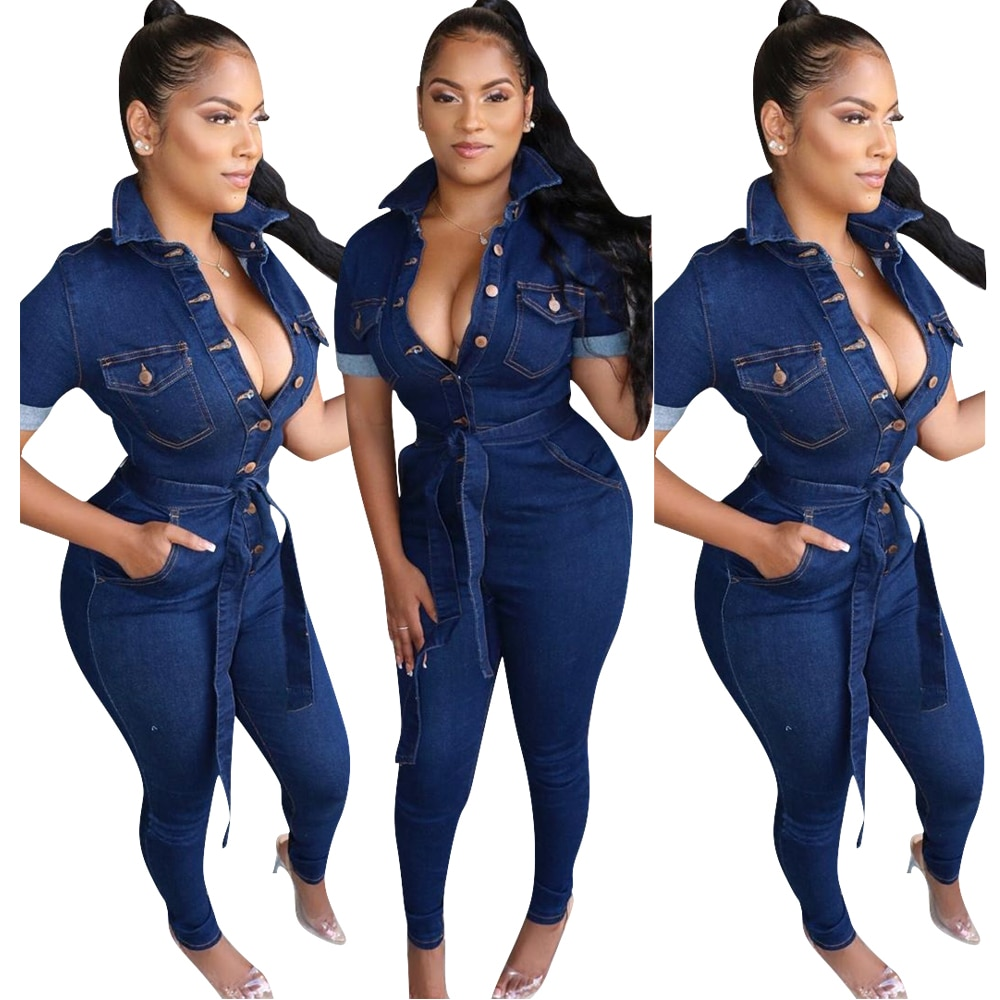 2020 new Autumn Women Denim Jeans Jumpsuit Full Sleeve Sashes Bodycon Rompers Sexy Club Night One Pice Playsuit Overall Outfits