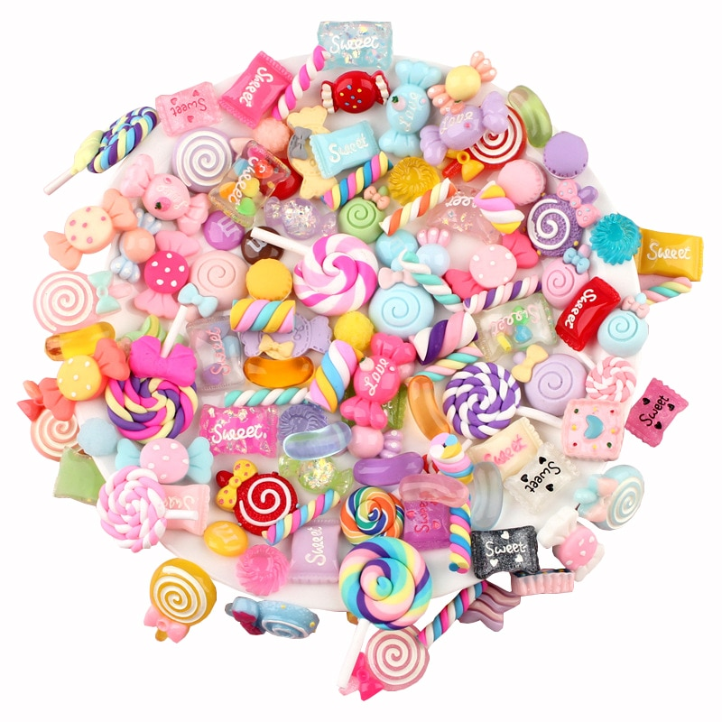 10/30/50/100 Pcs Candy Material Kit 3D Resin Flat Cabochons Embellishment Apple Diy Wedding Hairpin accessories Scrapbook Craft