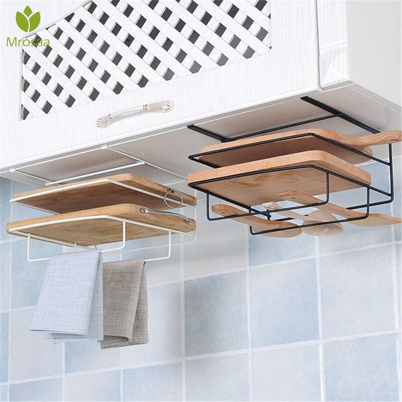 Heißer Küche Doppel Schicht handtuch rack hängen halter Schränke Regal Schneidebrett Storage Rack Kleiderbügel Regal Küche Zubehör