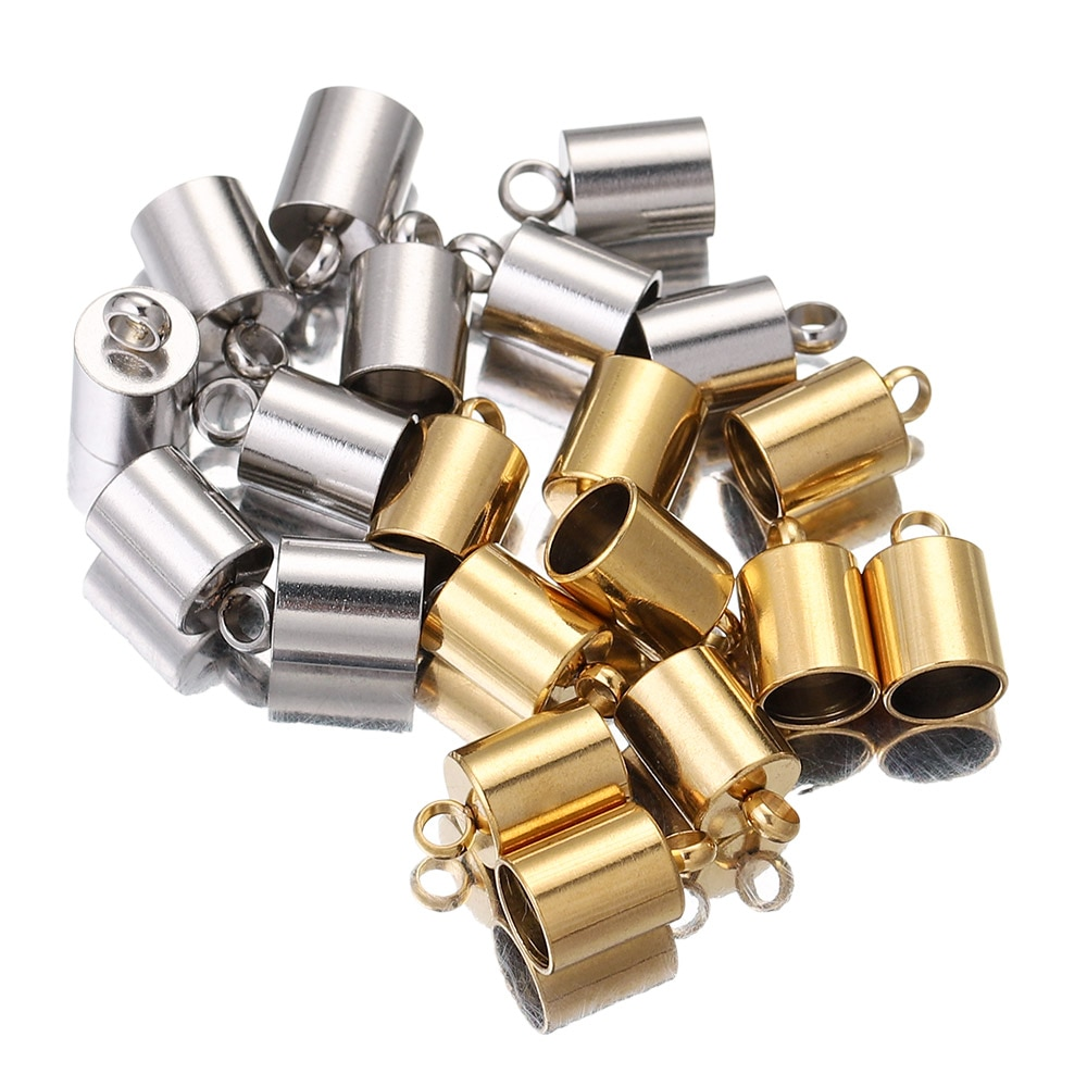 AliExpress - 10pcs Lot Stainless Steel Silver Gold Clasps Hooks Cords End Caps Cord for Jewelry Making Bracelet Necklace DIY Jewelry Findings