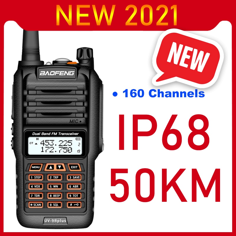 2021 Walkie Talkie Long Range 50km Baofeng UV 9R Plus 160CH Two Way Radio VHF UHF Radio Station UV9R