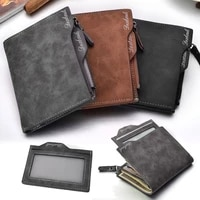 mens wallet business casual pu leather waterproof letter embroidery slim purse with around credit card coins zipper holder