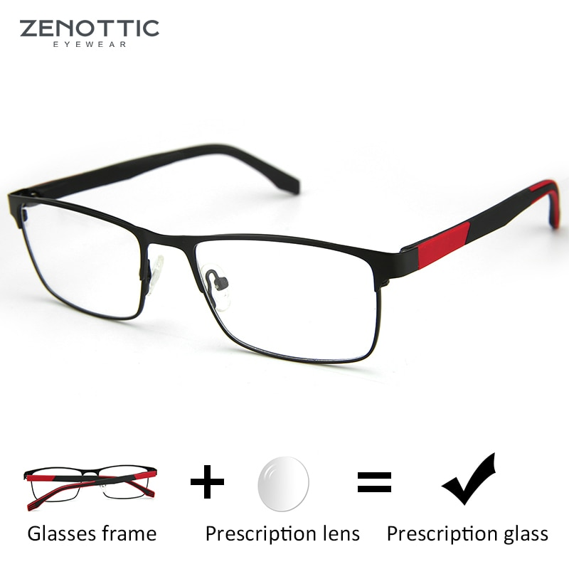 ZENOTTIC Square Alloy Progressive Prescription Glasses For Men Myopia Anti Blue Rays Photochromic Op