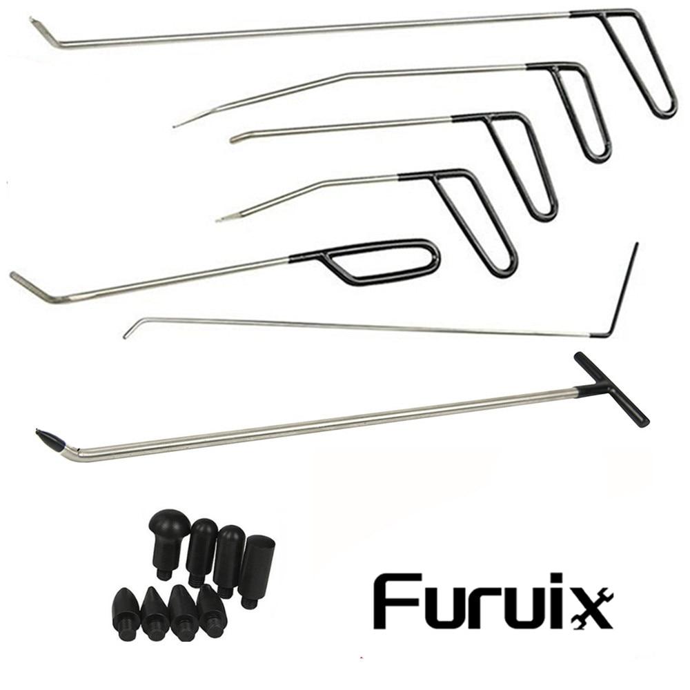 Furuix Dent Removal Rods Tools Dent Repair Kit 6 pcs Rod hook C & Tap Down with 1PC R1 Push Hooks